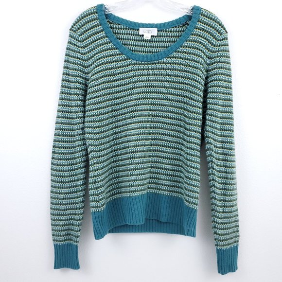 Loft Wool Blend Green Striped Scoop Neck Sweater L